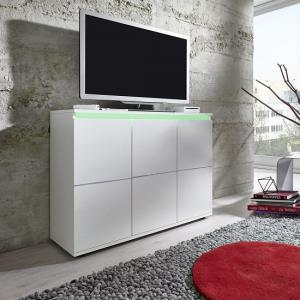 Alexis Modern TV Sideboard In White With LED Lights_3