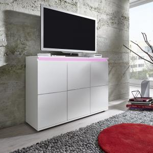 Alexis Modern TV Sideboard In White With LED Lights_2