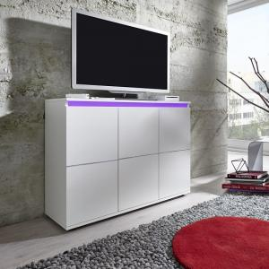 Alexis Modern TV Sideboard In White With LED Lights_4