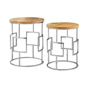 Alexore Set Of Two Side Tables With With Stainless Steel Base