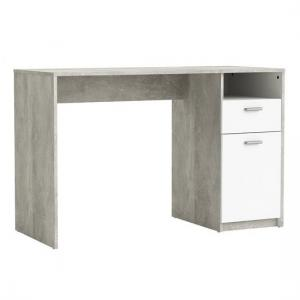 Alfie Computer Desk In Concrete And White With 1 Door