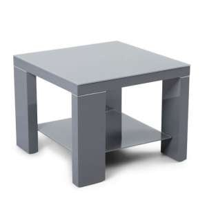 Alford Glass Side Table Square With Dark Grey High Gloss