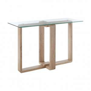 Alfratos Clear Glass Console Table With Natural Wooden Legs