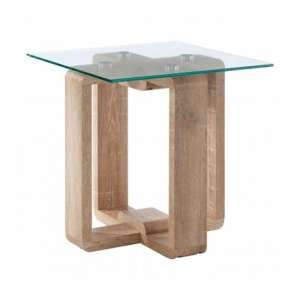 Alfratos Clear Glass Side Table With Natural Wooden Legs
