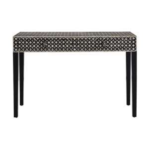 Algieba Exotic Patterend Wooden Console Table In Black