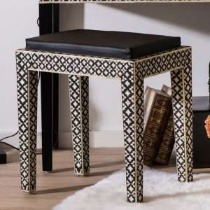 Algieba Fabric Upholstered Stool In Black With Wooden Legs