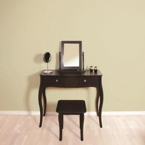 Alice Wooden Dressing Table With Mirror And Stool In Black