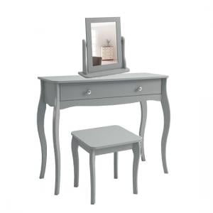 Alice Wooden Dressing Table With Mirror And Stool In Grey
