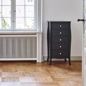 Alice Wooden Tall Chest Of Drawers In Black With 5 Drawers