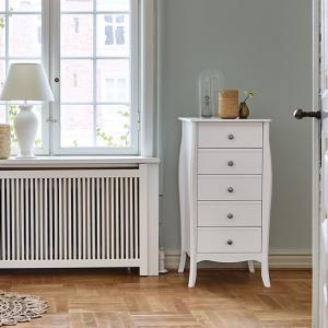 Alice Wooden Tall Chest Of Drawers In White With 5 Drawers
