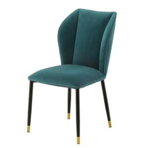 Alice Velour Fabric Dining Chair In Jade Green With Black Legs