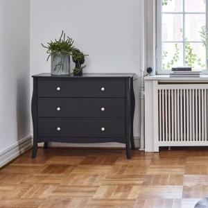Alice Wooden Wide Chest Of Drawers In Black With 3 Drawers