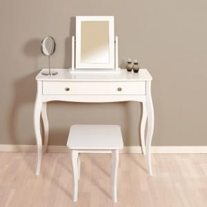 Alice Wooden Dressing Table With Mirror And Stool In White