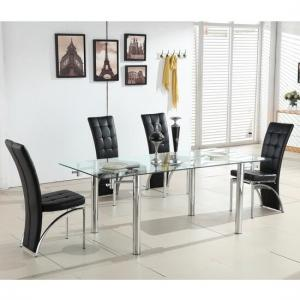 Alicia Extending Glass Dining Table With 6 Ravenna Black Chairs