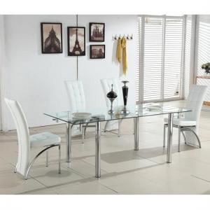 Alicia Extending Glass Dining Table With 6 Ravenna White Chairs