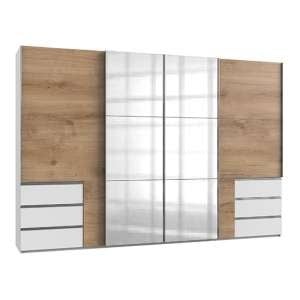 Alkesia 4 Doors Mirrored Wide Wardrobe In Planked Oak And White