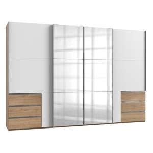 Alkesia 4 Doors Mirrored Wide Wardrobe In White And Planked Oak