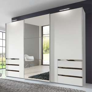 Alkesia Sliding 3 Doors Mirrored Wide Wardrobe In White