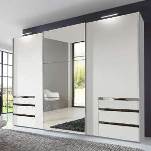 Alkesu Mirrored Sliding 3 Doors Wardrobe In White With 6 Drawers