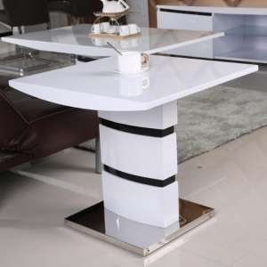 Allesia High Gloss Lamp Table Square In White And Black