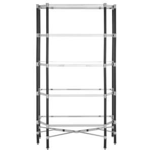 Allessa Clear Glass Bookcase In Silver And Chrome With 5 Shelves