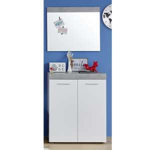 Alley Wooden Hallway Furniture Set 6 In White And Cement Grey