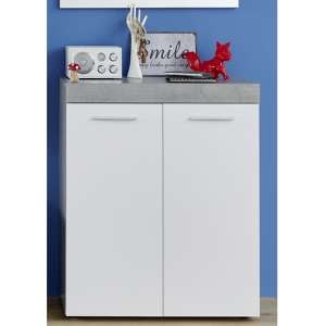 Alley Wooden Shoe Storage Cabinet In White And Cement Grey