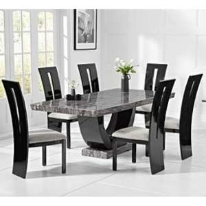 Allie Marble Large Dining Table In Grey With Six Ophelia Chairs
