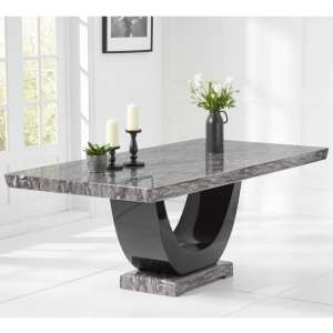 Allie Marble Large Dining Table In Dark Grey And Black