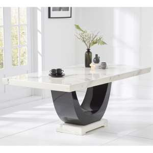 Allie Marble Dining Table Rectangular In White And Black