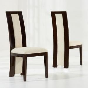 Allie Dining Chair In Brown Gloss And Cream Fabric In A Pair