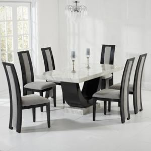 Allie Marble Dining Set In Cream And Black With 6 Grey Chairs