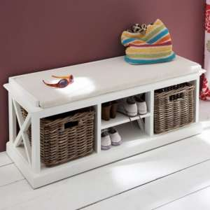Allthorp Hallway Bench With Basket Set In Classic White