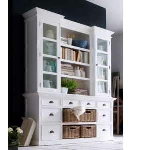 Allthorp Storage Bookcase With Basket Set In Classic White