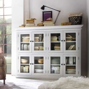 Allthorp Wooden 8 Doors Display Cabinet In Classic White