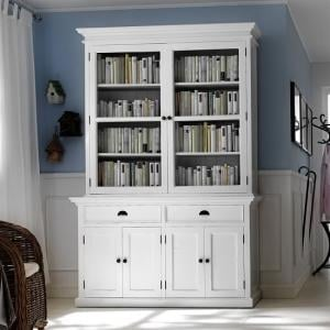 Allthorp Solid Wood Glass Display Cabinet In White With 6 Doors