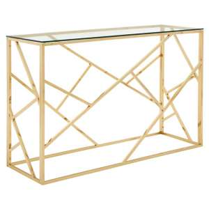 Alluras Glass Console Table In Champagne Gold Geometric Frame