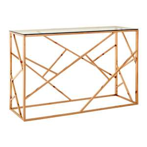 Alluras Glass Console Table In Rose Gold Geometric Frame