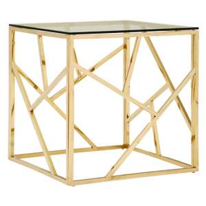 Alluras Glass Side Table In Champagne Gold Geometric Frame