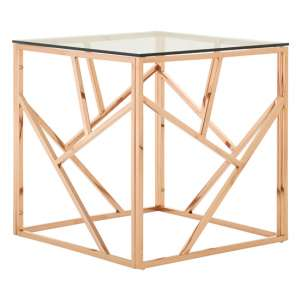 Alluras Glass Side Table In Rose Gold Geometric Frame