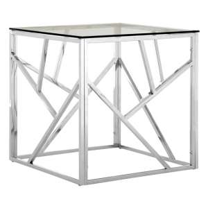 Alluras Glass Side Table In Silver Geometric Frame