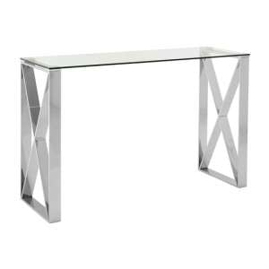 Alluras Rectangular Clear Glass Console Table In Silver