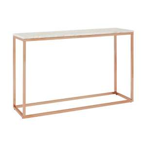 Allure Console Table In Rose Gold With White Marble Top