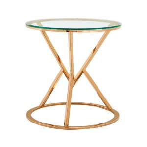 Alluras Corseted Round End Table In Rose Gold