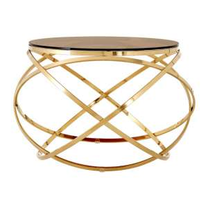 Alluras End Table In Champagne Gold With Red Tint Glass Top