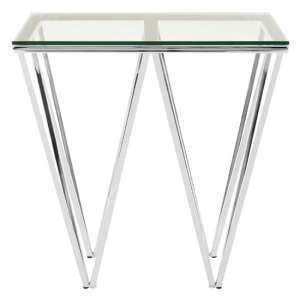 Alluras End Table In Chrome With Triangular Base