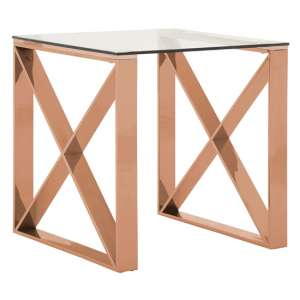 Alluras End Table In Rose Gold With Clear Glass Top