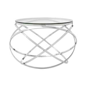 Alluras End Table In Silver With Clear Glass Top