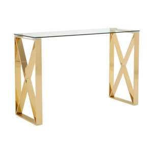 Allure Glass Console Table In Champagne Gold