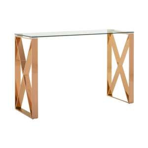 Allure Glass Console Table In Rose Gold